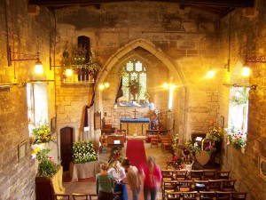 The church decorated with flowers